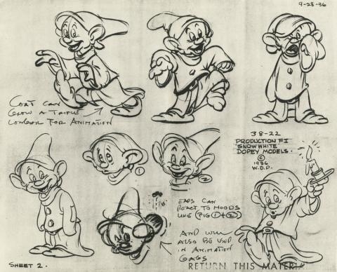 Snow White and the Seven Dwarfs Photostat Model Sheet - ID: aprsnowwhite21124 Walt Disney
