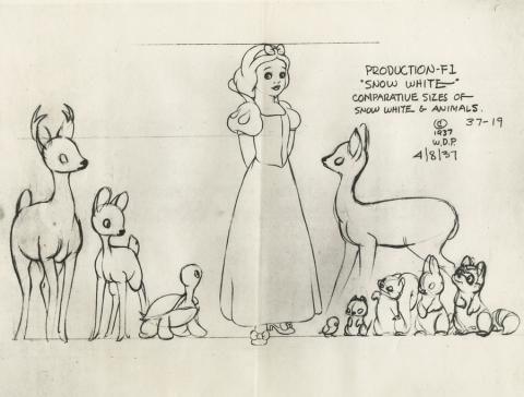 Snow White and the Seven Dwarfs Photostat Model Sheet - ID: aprsnowwhite21131 Walt Disney
