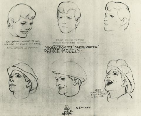 Snow White and the Seven Dwarfs Photostat Model Sheet - ID: aprsnowwhite21133 Walt Disney