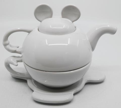 Mickey Tea for One Stackable White Tea Set - ID: augdisneyana20073 Disneyana