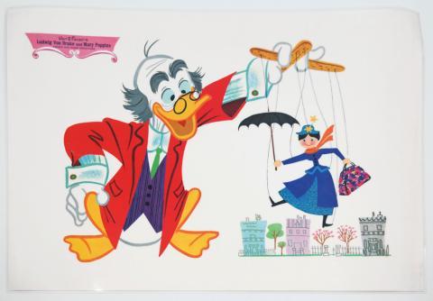 Ludwig Von Drake & Mary Poppins Placemat - ID: augdisneyana20125 Disneyana