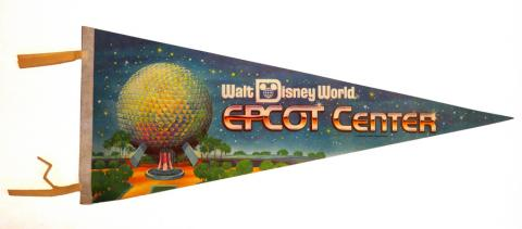 1982 WDW Spaceship Earth Epcot Center Pennant - ID: augdisneyana20151 Disneyana