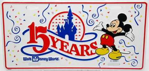 Walt Disney World 15 Years Novelty License Plate - ID: augdisneyana20183 Disneyana