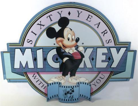 Mickey's 60th Birthday Main Street Lamppost Sign - ID: juldisneyana21093 Disneyana