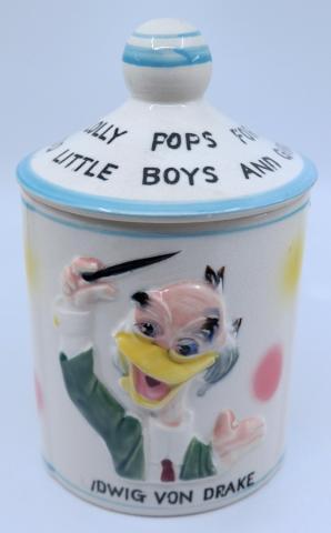 Ludwig Von Drake, Donald Duck and Mickey Mouse Candy Jar - ID: jundisneyana21322 Disneyana