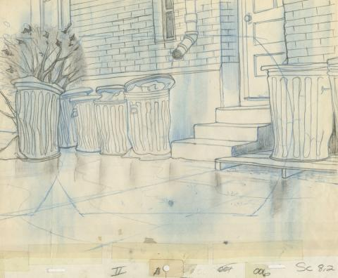 Banjo the Woodpile Cat Background Layout Drawing - ID: marbanjo21072 Don Bluth