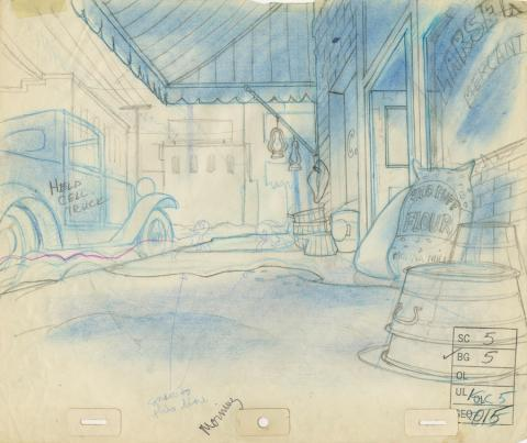 Banjo the Woodpile Cat Background Layout Drawing - ID: marbanjo21078 Don Bluth