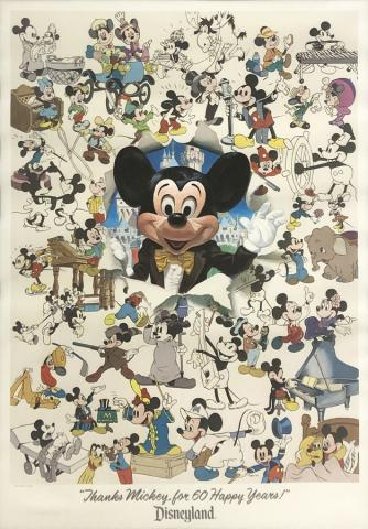Thanks Mickey for 60 Happy Years! Charles Boyer Signed Limited Print - ID: marboyer21038 Disneyana