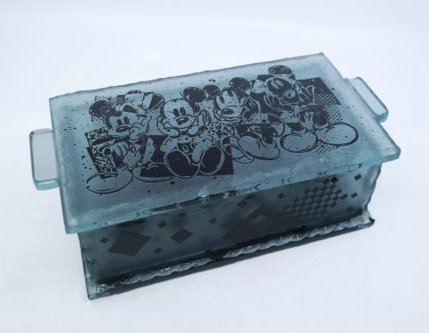 Mickey Mouse Glass Trinket Box - ID: mardisneyana21322 Disneyana