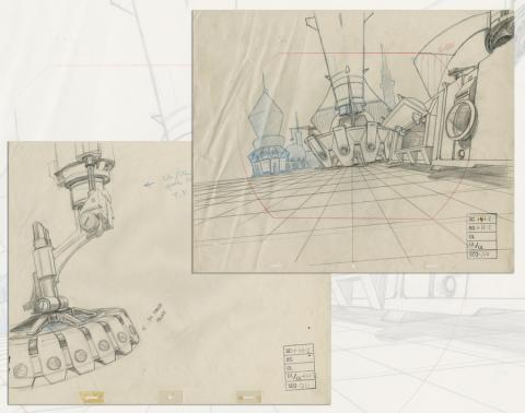 Space Ace Pair of Background Layout Drawings - ID: marspaceace21086 Don Bluth