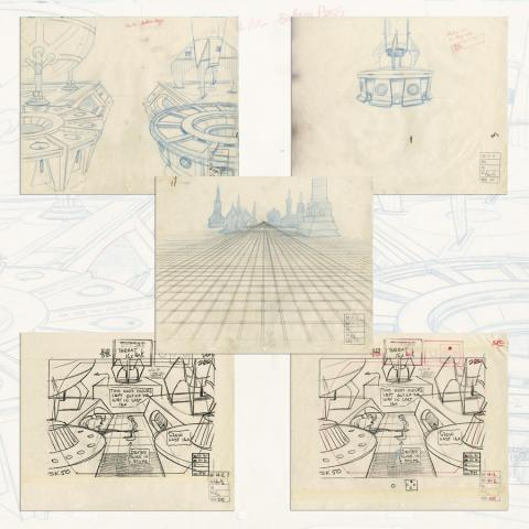 Space Ace Set of (5) Layout Drawings & Xerox References - ID: marspaceace21096 Don Bluth