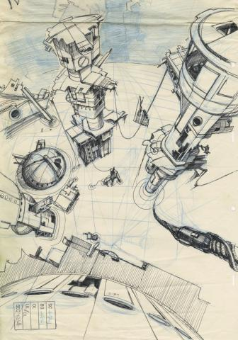 Space Ace Background Layout Drawing - ID: marbluthspaceace21114 Don Bluth