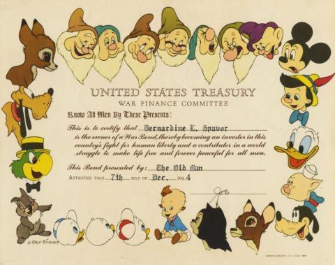Disney United States Treasury War Bond - ID: sepdisneyana21042 Walt Disney