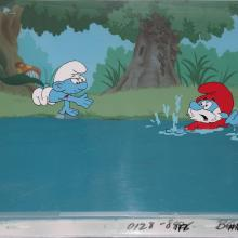 The Smurfs Production Cel & Background - ID:marsmurfs2630 Hanna Barbera