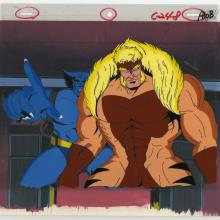 X-Men Beast and Sabretooth Matching Cel & Background - ID: septxmen8038 Marvel