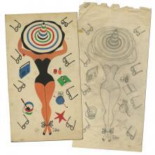 T. Hee Original Art for a Towel - ID: novillustration17837 Illustration Art