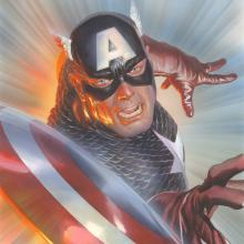 Marvelocity: Capt America Signed Giclee on Canvas Print - ID: aprrossAR0139C Alex Ross