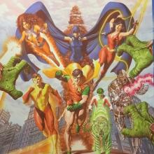 Teen Titans Tribute Signed Litho Print - ID: aprrossAR0223DL Alex Ross