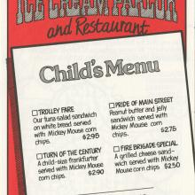 Carnation Ice Cream Parlor and Restaurant Child's Menu - ID: augdismenu20031 Disneyana