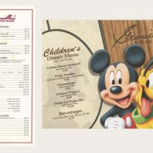 Granville's Steakhouse Menu and Children's Menu - ID: augdismenu20039 Disneyana