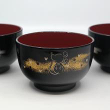 Mickey Mouse Set of 4 Lacquer Miso Bowls - ID: jundisneyana20016 Disneyana