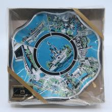 Walt Disney World Lands Glass Scalloped Plate - ID: aprdisneyland21310 Disneyana