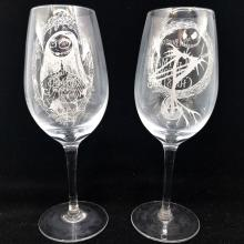 Nightmare Before Christmas Jack & Sally Wine Glass Set - ID: augdisneyana20274 Disneyana