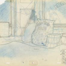 Banjo the Woodpile Cat Background Layout Drawing - ID: marbanjo21073 Don Bluth