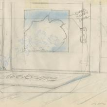 Banjo the Woodpile Cat Background Layout Drawing - ID: marbanjo21079 Don Bluth