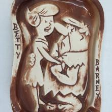 Betty and Barney Rubble Ashtray - ID: marflintstones21018 Hanna Barbera
