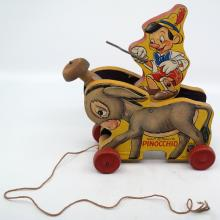 Pinocchio and Donkey 1939 Wood Pull Toy - ID: novdisneyana20030 Disneyana